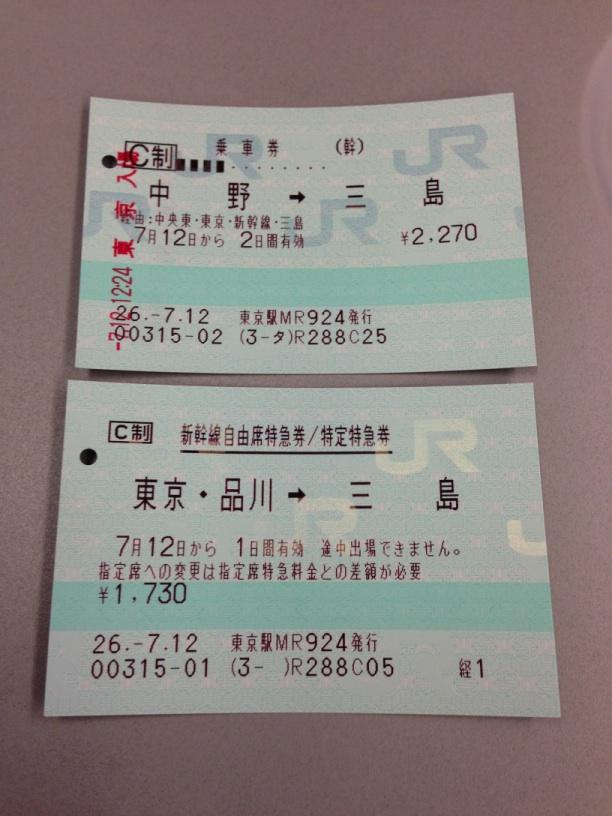新幹線の乗車券