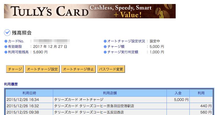 タリーズカードの管理画面